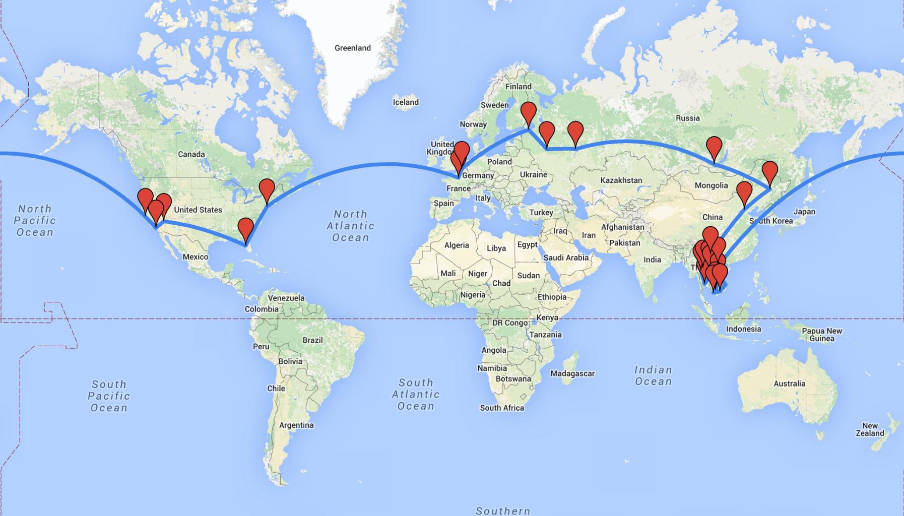 carte itinéraire tour du monde